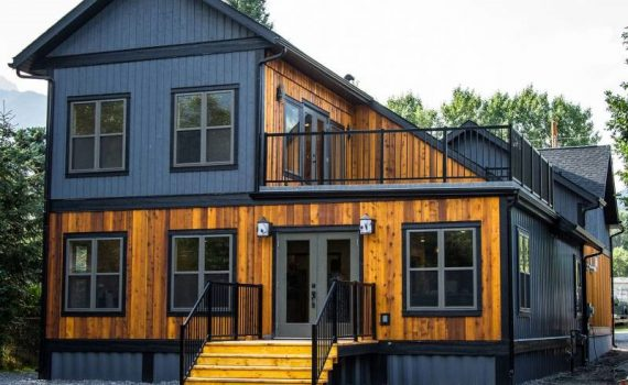 A Front-View of Luxurious Steel Made Shipping Container Home Design